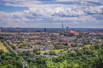 Cracow city in Poland - panoramic view from Pilsudski Mound