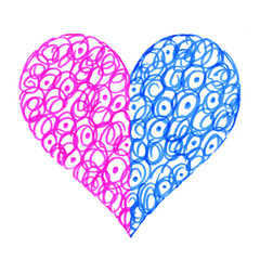 Love symbol with abstract pattern, two colored halves of one heart