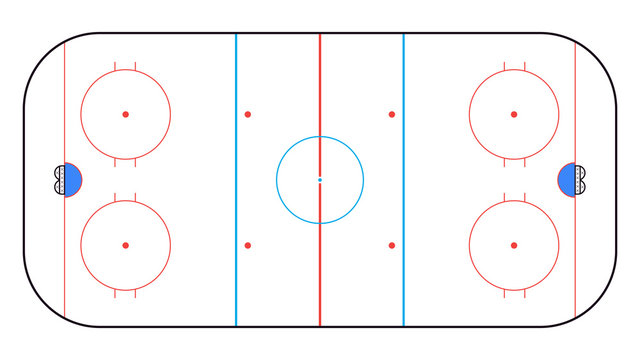 Ice Hockey Rink top view. Hockey background. Vector illustration