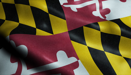 State of Maryland Waving Flag in 3D