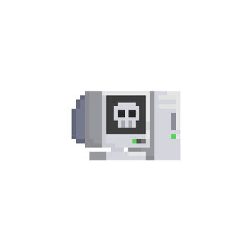 Pixel desktop computer with skull on the screen.8bit icon.