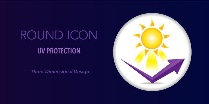 UV protection round icon. Three-dimensional design.