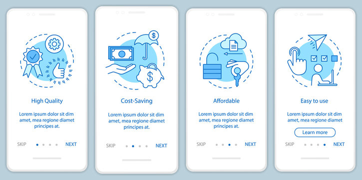 Software benefits onboarding mobile app page screen with linear concepts