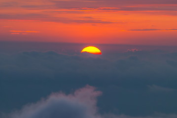 Sunset behind the clouds