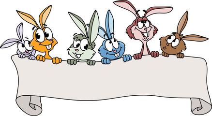 A group of cartoon bunnies holding a blank banner vector illustration