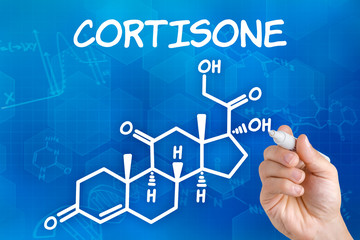 Hand with pen drawing the chemical formula of cortisone