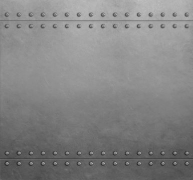 Metal armor plates with rivets background 3d illustration