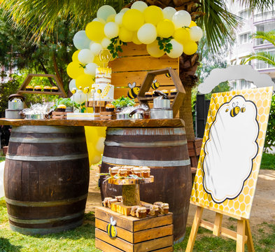 Bee, honey, honeycomb themed in wood tones baby shower party, newborn baby party, birthday party concept design, decorations