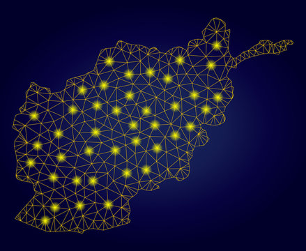 Yellow mesh vector Afghanistan map with glow effect on a dark blue gradiented background. Abstract lines, light spots and small circles form Afghanistan map constellation.