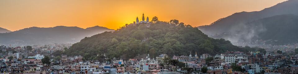 Sunset over a temple in Kathmandu, Nepal
