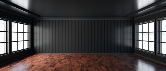 Empty room with black wall background wooden floor, Living room - 3D Rendering