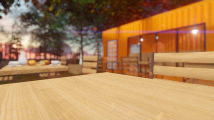 Adobe dimension background interior and outdoor Bar container 3d render