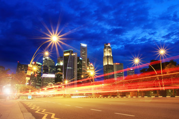 Motion Red Speed Light on road to Singapore City Fototapete
