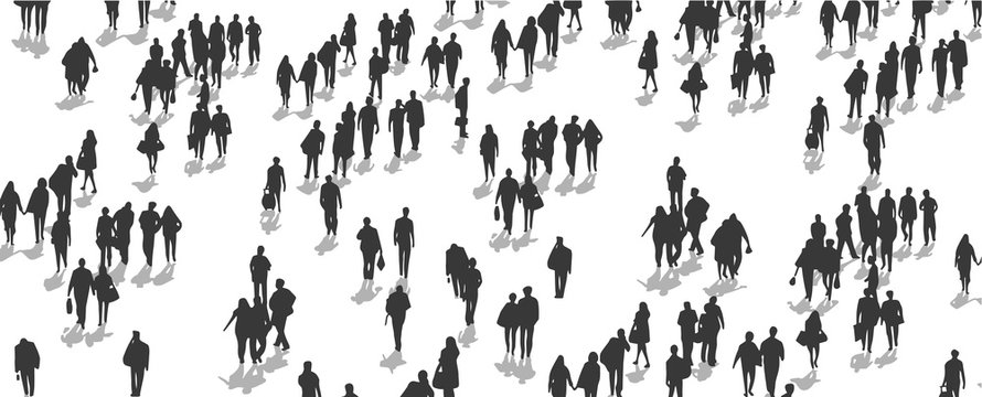 Illustration of crowd of people walking from high angle view perspective