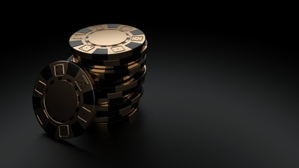 Black Golden Casino Chips Isolated On The Black Background - 3D Illustration