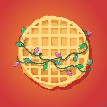 cute poster with frindship concept and illustration of waffle with lights garland. childrens vector illustration
