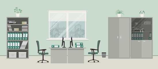 Office room in a gray color. There are desks, green chairs, cabinets for documents and other objects on a window background in the picture. Vector flat illustration