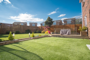 Modern Garden Designed and landscaped with newly Constructed Materials. Fototapete
