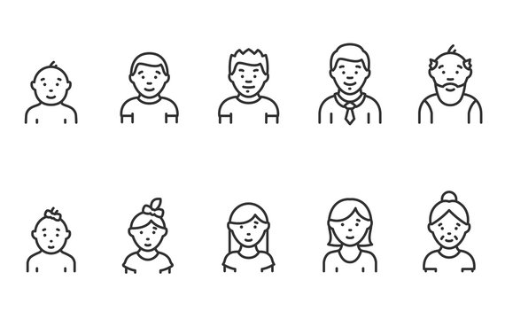 Lifecycle from birth to old age, icon set. People of different ages, male and female, linear icons. Childhood to old age. Life cycle. Line with editable stroke