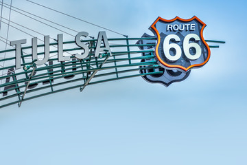 Photo sur Plexiglas Route 66 Route 66 sign, Tulsa Oklahoma