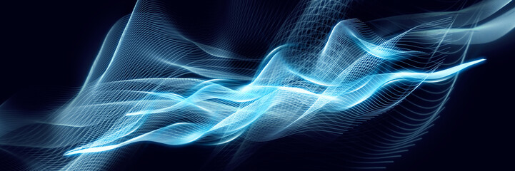 Fototapeta Blue abstraction with waves. Modern panoramic background. obraz
