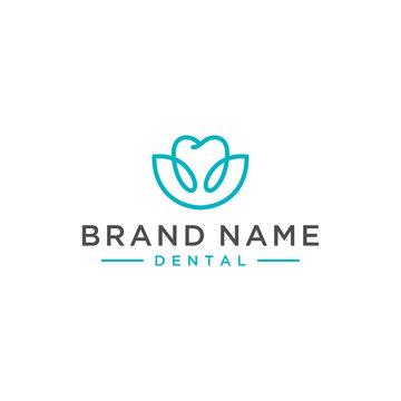 flower dental care vector logo design