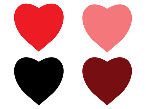 Heart icons on white background.vector illustration