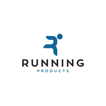 running man concept vector logo design