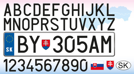 Slovakia car license plate, letters, numbers and symbols