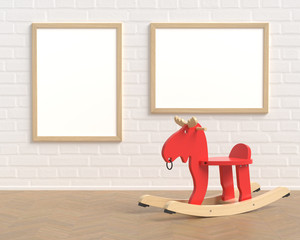 Set Two Frame Mockup With Baby Toy Red Elk On The Background