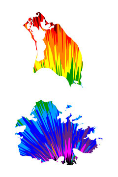 Antigua and Barbuda - map is designed rainbow abstract colorful pattern, Antigua and Barbuda island map made of color explosion,