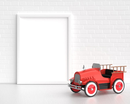 Frame Mockup With Baby Toy Vintage Fire Truck On The White Background