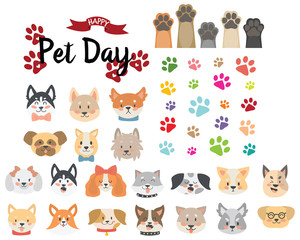 Many dogs and paw illustration vector set
