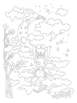 Little girl dreaming in her sleep, hanging on crescent moon, seing clouds, stars and space around. Vector outline illustration for zen coloring pages for adults and kids. Cute coloring page, sleeping