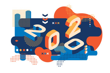 2020 Colored Memphis style. Banner with 2020 Numbers. Vector New Year illustration