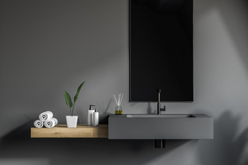 Gray bathroom sink with mirror Wall mural