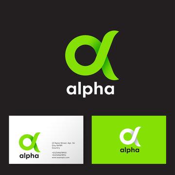 Alpha Logo. A emblem. Green Greek letter Alpha on a dark  background. Business card.