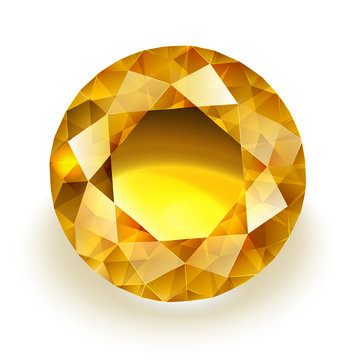 Amber colored sparkling diamond - round yellow sapphire illustration