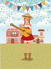 female farmer playing guitar with garlands and cityscape