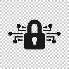 Cyber security icon in transparent style. Padlock locked vector illustration on isolated background. Closed password business concept.
