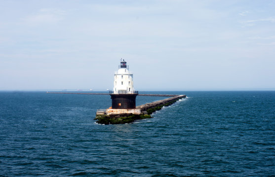 Passing by Harbor of Refuge Lighthouse in Delaware Bay - Lewes to Cape May ferry