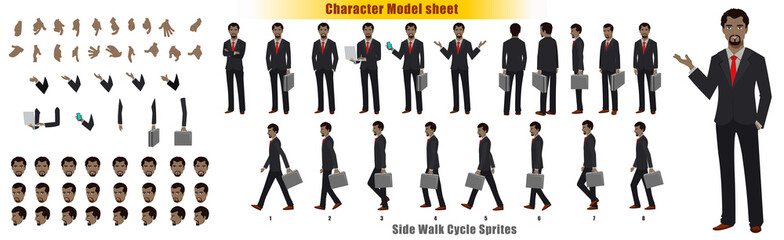 Businessman Character Model sheet with Walk cycle Animation Sequence  Wall mural