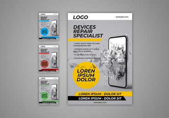Flyer Layout with Image of Broken Phone