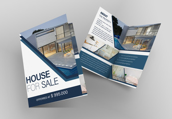 Real Estate Bifold Flyer Layout with Blue Accents
