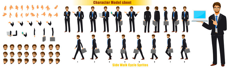 Businessman Character Model sheet with Walk cycle Animation Sequence