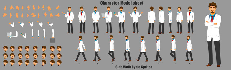 Doctor Character Model sheet with Walk cycle Animation Sequence  Wall mural