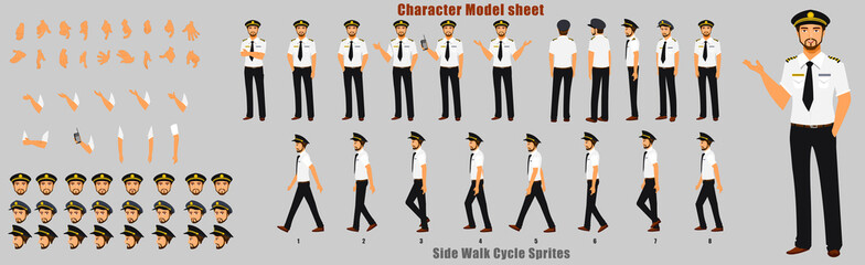 Pilot Character Model sheet with Walk cycle Animation Sequence