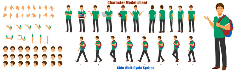 Student Character Model sheet with Walk cycle Animation Sequence  Wall mural