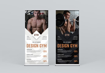 Black and White Roll-Up Banner Layout with Arrow Elements