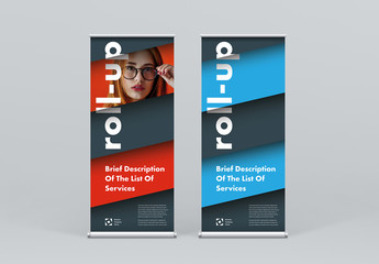 Roll-up Banner Layout with Layered Diagonal Elements